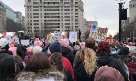 protesters at indépendance plaza in Washington dc woman's march 2020